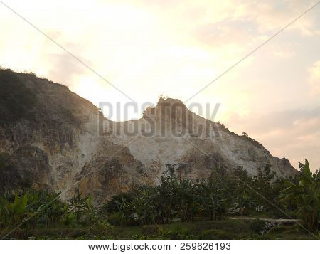 Mountain Landscape. Scenic View Of A Mountain Lake Feneos, Mountains And Autumn Trees On A Sunny Day