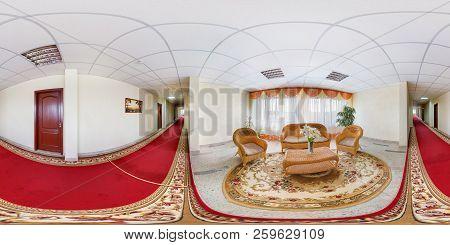 Minsk, Belarus - July 2012: Full Seamless 360 By 180 Degree Panorama In Stylish Hall In Modern Luxur