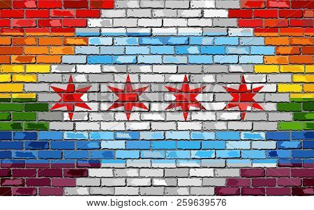 Brick Wall Chicago And Gay Flags - Illustration, Rainbow Flag On Brick Textured Background,  Abstrac
