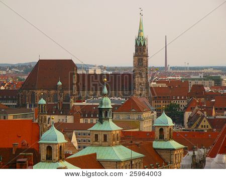 Aerial view of  Nuernberg roofs poster