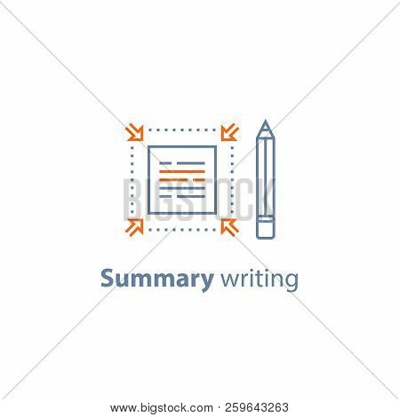 Summary writing concept, brief information, text edit, content review, article compilation, short and fast reading, copywriting services, vector line icon, thin stroke poster