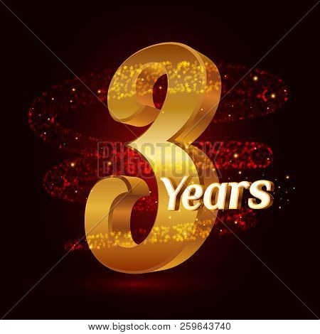 3 Years Golden Anniversary 3d Logo Celebration With Gold Glittering Spiral Star Dust Trail Sparkling