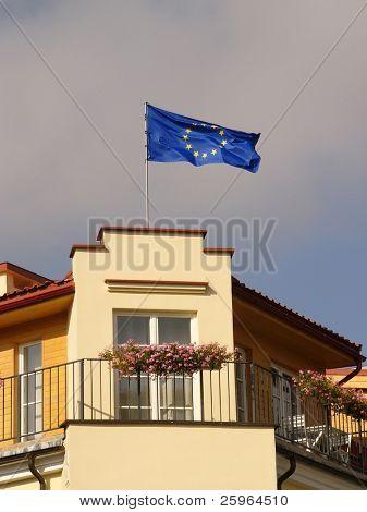 EU flag on building