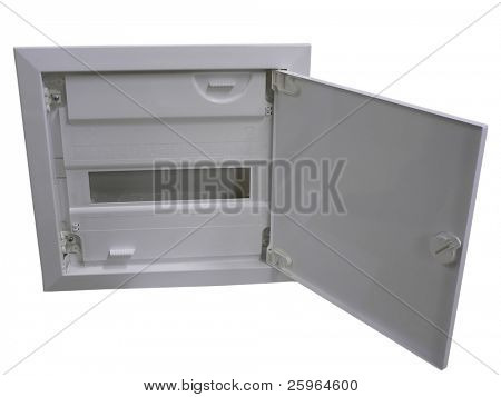 Plastic Installation box with door on white background