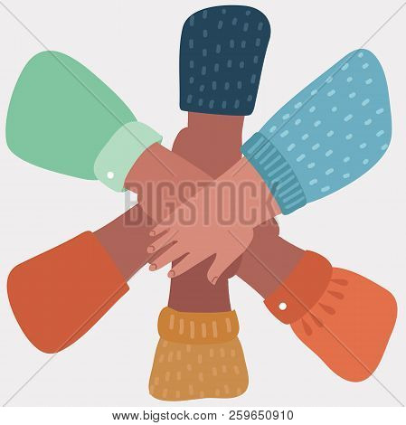 Everybody Put His Hand On The Other Hand. People Promise Each Other. Famous Gesture: One For All And