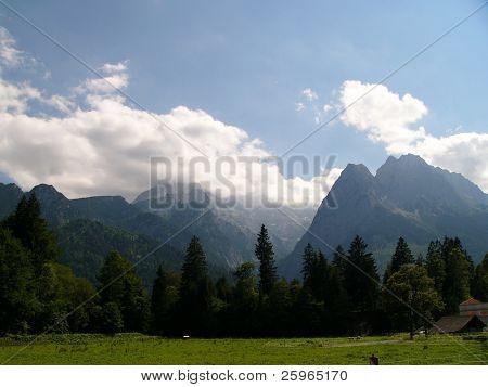 Germany's highest mountain Zugspitze. View from Garmisch - Partenkirhen