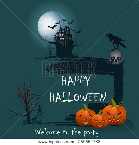 Design Of A Holiday Greeting Card For Halloween On A Green Background