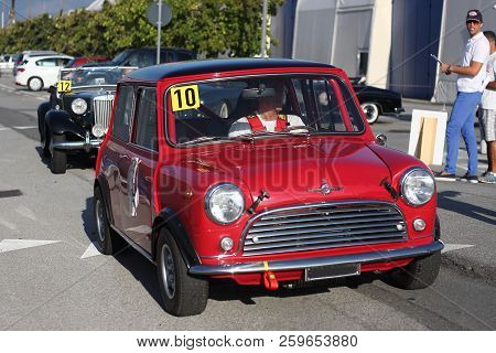 Historic Cars: Mini Minor. Historical Re-enactment Of The Uphill Gra