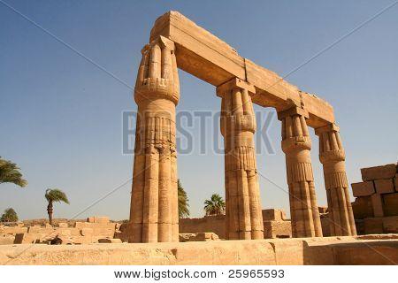 Pillars in Temple of Amon-Re-Harakhty, Karnak, Luxor, Egypt.