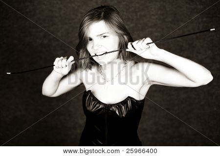 Dangerous girl holds knout