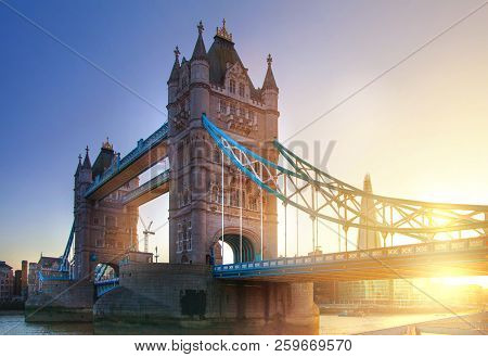 Tower Bridge And River Thames At Sunset. London. Uk
