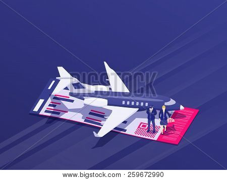 Pilot And Stewardess Stand Near The Plane. Private Jet Charter Flights. Air Travel Flat 3d Isometric
