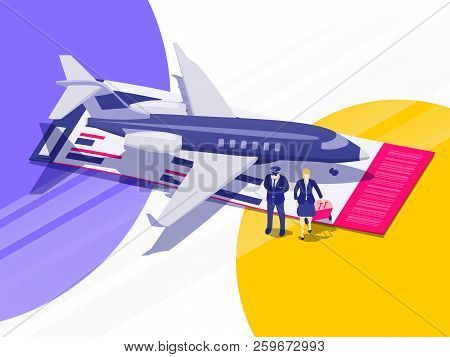 Passenger Aircraft. Air Travel Flat 3d Isometric Design Concept. Private Jet Charter Flights. Pilot