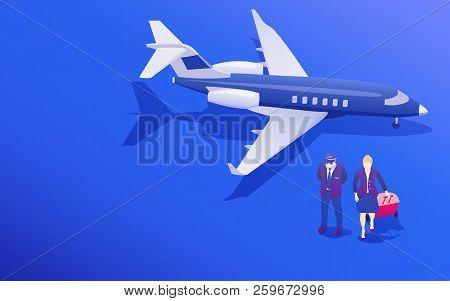 Passenger Aircraft. Private Jet Charter Flights. Air Travel Flat 3d Isometric Design Concept. Pilot
