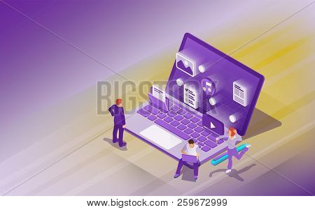 Professional Hosting And Data Storage. Cloud Data Storage And Remote Data Access Flat 3d Isometric B