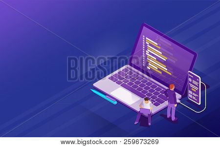 Startup Concept With Flat 3d Isometric Style. Development Of Software And Mobile App. Program Code O