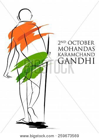 India Background With Nation Hero And Freedom Fighter Mahatma Gandhi For Independence Day Or Gandhi