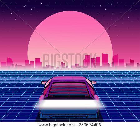 Retro Future. 80s Style Sci-fi Background With Supercar. Futuristic Retro Car. Vector Retro Futurist