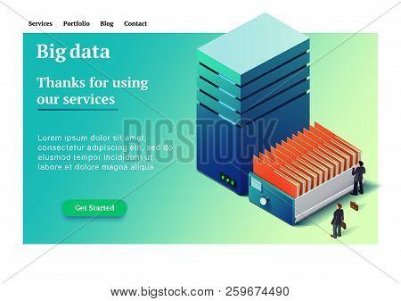 Big Data. Backup Copy. Concept Of Big Data Processing. Datacenter Isometric Vector Illustration. Big