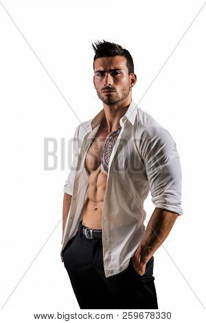 Man With White Shirt Open On Naked Torso
