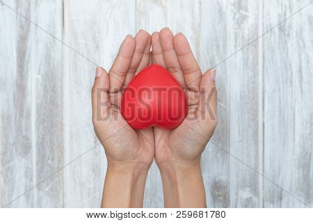 Child Hands Holding Red Heart, Health Care, Love And Family Concept, World Heart Day, Female Hands G