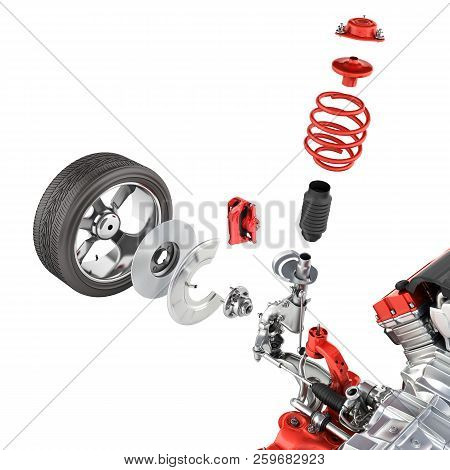Suspension Of The Car With Wheel And Engine Undercarriage In Detail Isolated On White Background 3d