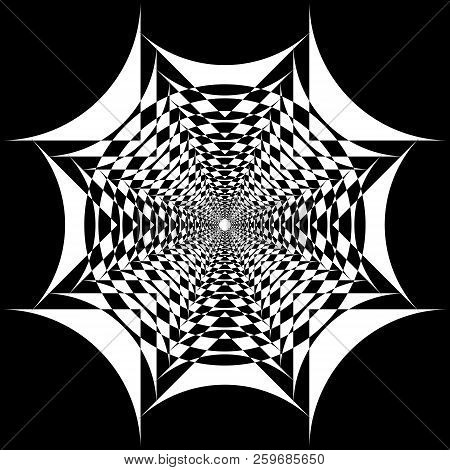 Abstract Arabesque Fountain Fan Spider Net Nedative Space Design Black On Transparent Background