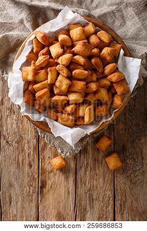 Chin Chin Is A Fried Snack In West Africa, Mostly In Nigeria Served In A Plate On A Close-up. Vertic