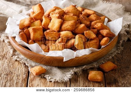 Chin Chin Is A Fried Snack In West Africa, Mostly In Nigeria Served In A Plate On A Close-up. Horizo