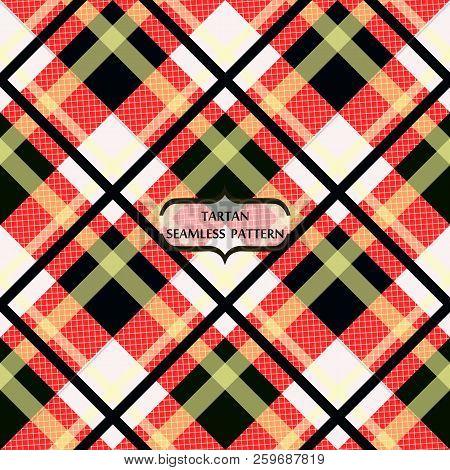 Menzies Tartan Red Kilt Diagonal Fabric Texture Seamless Pattern.vector Illustration. Eps 10. No Tra