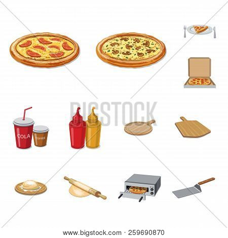 Vector Design Of Pizza And Food Symbol. Collection Of Pizza And Italy Vector Icon For Stock.