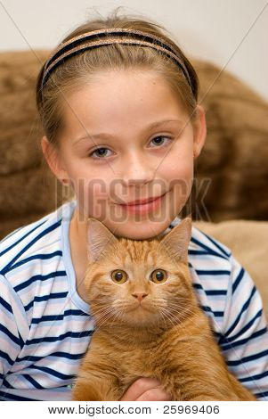 The girl with a red cat. A portrait