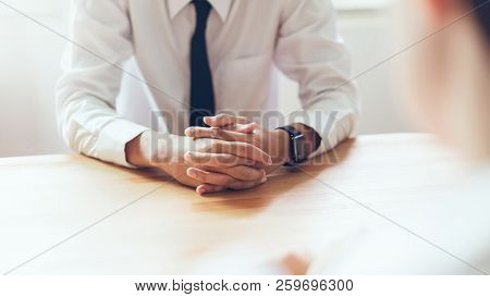 Human Resources During Job Interview Businessman In Office.