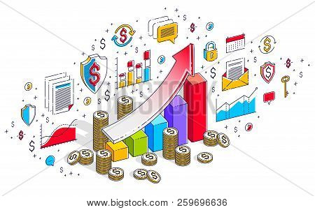 Success and income increase concept, growth chart stats bar with cash money stack isolated on white. Vector 3d isometric business illustration with icons, stats charts and design elements. poster