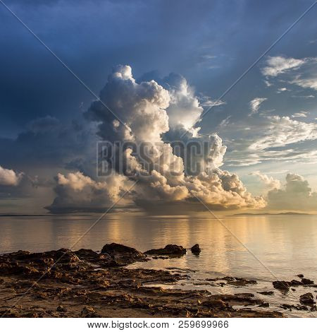 Beautiful Cloud Above The Ocean At Borneo, Sabah, Malaysia. Version 2.