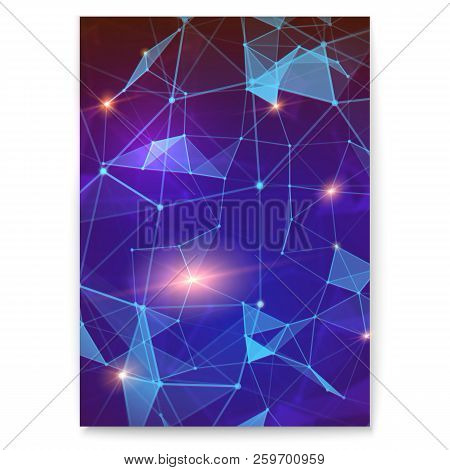 Abstract Digital Cover With Pattern Of Plexus Representing The Global Interaction. Concept Of Global