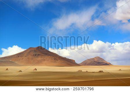 Stunning Landscape Of The Salvador Dali Desert In Eduardo Avaroa Andean Fauna National Reserve, Sur