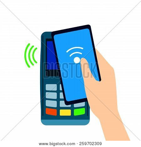Pos Terminal Confirms The Payment Made Through Mobile Phone. Nfc Payments. Flat Style. Mobile Bankin