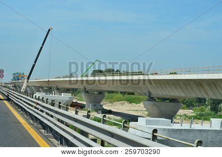 View Of Construction Motorway Bridge, Motorway A23, Italy