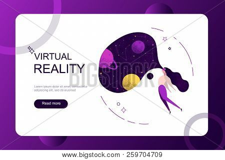 Virtual Augmented Reality Holidays On Weekend Concept. Girl Woman Wearing Virtual Reality Glasses Se