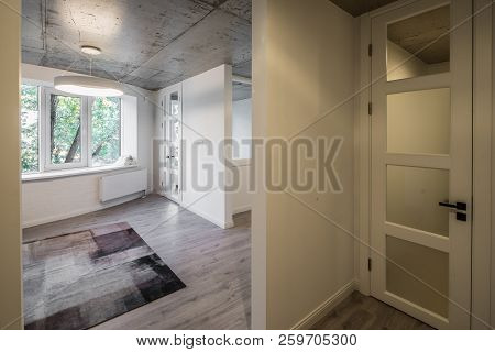 Entrance Hall And Entrance Door To Studio Apartments. Entrance Hall And Corridor In A Modern Apartme