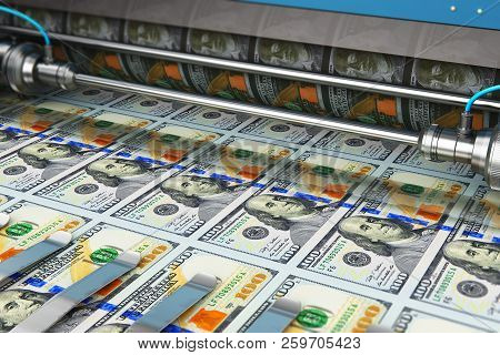 Printing 100 Us Dollar Usd Money Paper Cash Banknotes On Print Machine In Typography
