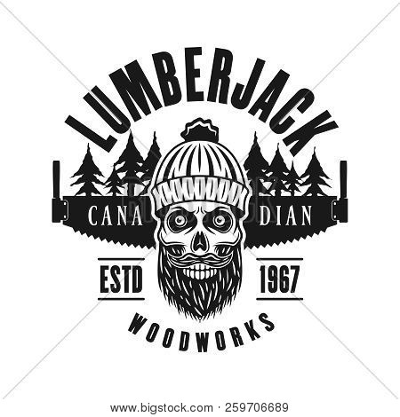 Lumberman Skull With Beard And Two Hand Saw Vector Emblem In Vintage Monochrome Style Isolated On
