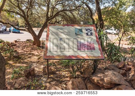 Pretoria, South Africa, July 31, 2018: An Information Board For The Piet Retief Monument, In The For