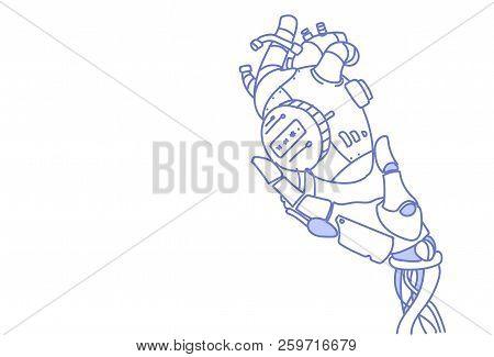 Modern Robot Hand Holding Steel Robotic Heart Artificial Intelligence Assistance Concept Sketch Dood