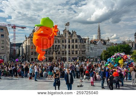 Brussels, Belgium - September 15,2018 : Brussels Celebrates The Comic Strip Festival With Exhibition