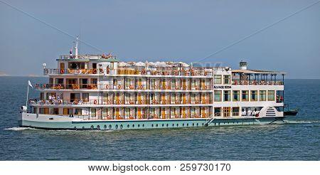 Lake Nasser, Egypt, 2014.  Luxury Cruise Ship Sailing On Lake Nasser.  Lake Nasser Is One Of The Lar