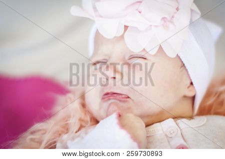 Sad Adorable Caucasian Newborn Baby Girl Upset And Crying. Hungry Infant Screaming Stock Image.