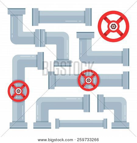 Pipes Set. Piping And Pipeline Systems. Water Pipes, Valves And Connectors. Vector Illustration
