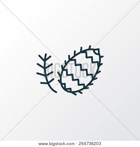 Fir Cone Icon Line Symbol. Premium Quality Isolated Pinecone Element In Trendy Style.